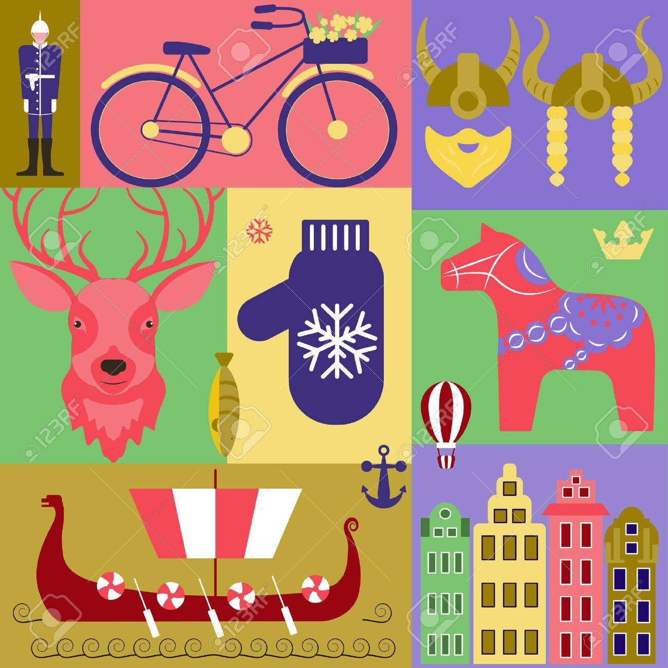 Vector Set With Elements And Symbols Of Sweden Traditional Swedish