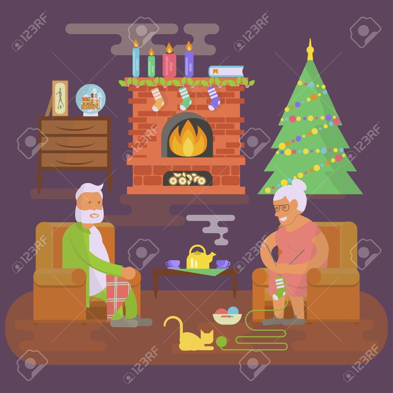 Haus-Weihnachts Zimmer Interieur-Objekte In Flachem Stil ...