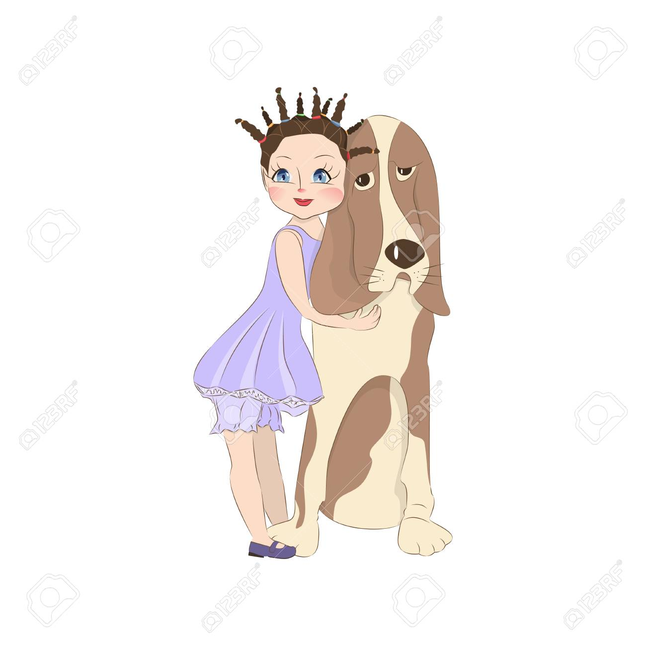Petite Fille Mignonne Avec Son Basset Hound Chien Personnage De Dessin Animé Pour Les Vêtements Ou D Autres Utilisations Dans Le Vecteur T Shirt
