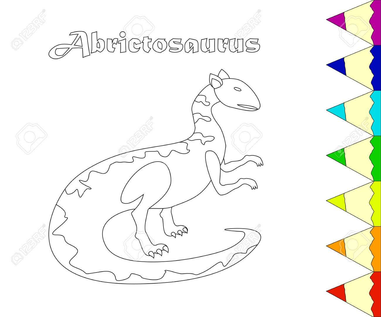Dibujo Para Colorear De Reptiles Del Jurásico. Ilustraciones ...