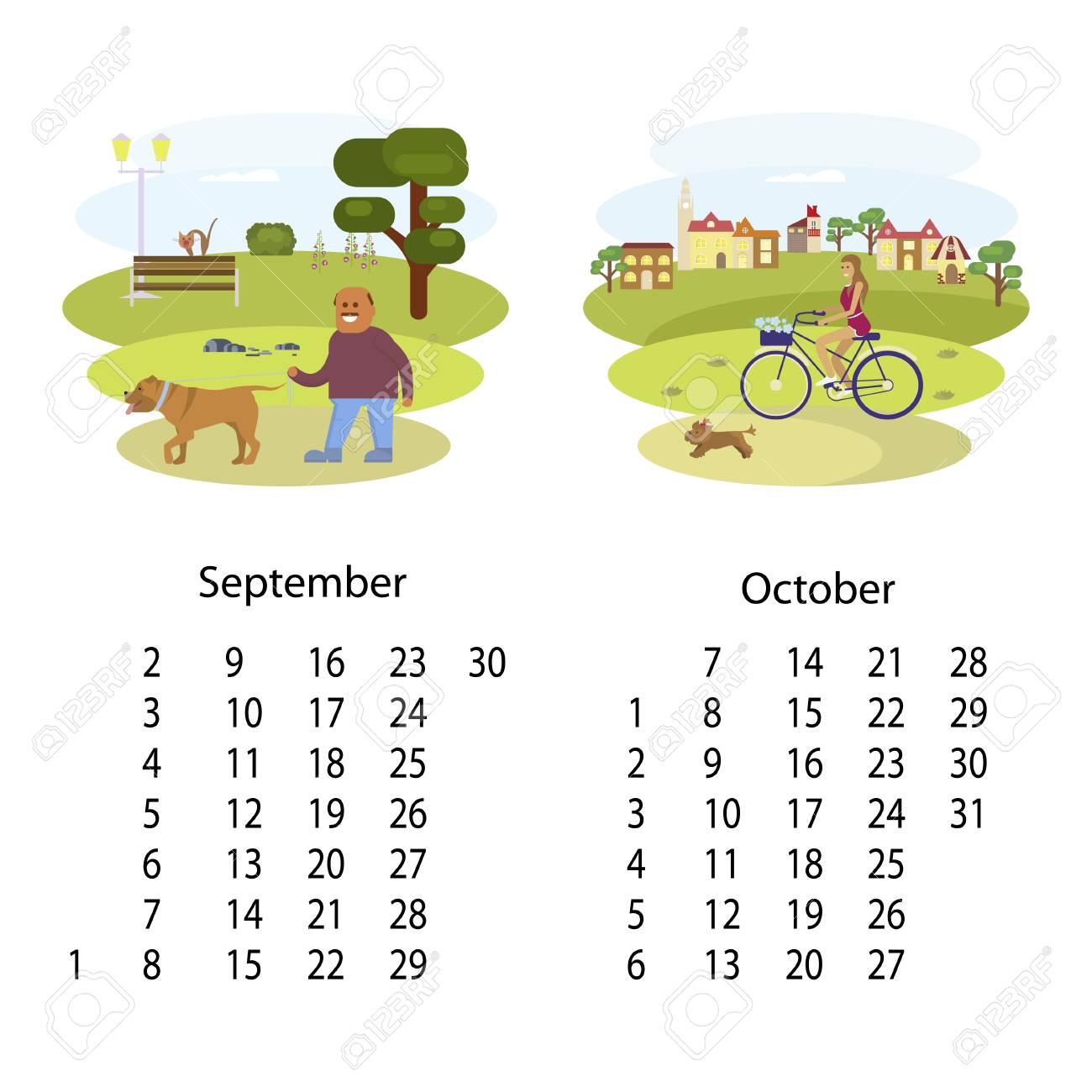 Calendario Dibujo Septiembre.Ilustracion De Calendario 2018 Con Dibujo De Dibujos Animados Para Cada Mes De Septiembre De Octubre