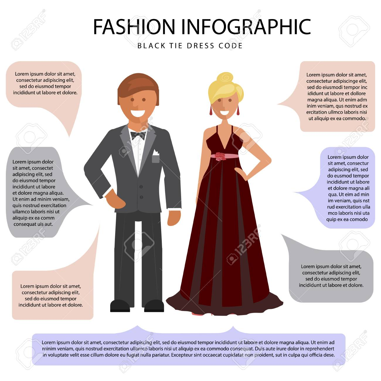 Black Tie Dress Code Infographic Man And Woman Isolated On White Royalty Free Cliparts Vectors And Stock Illustration Image 94798718