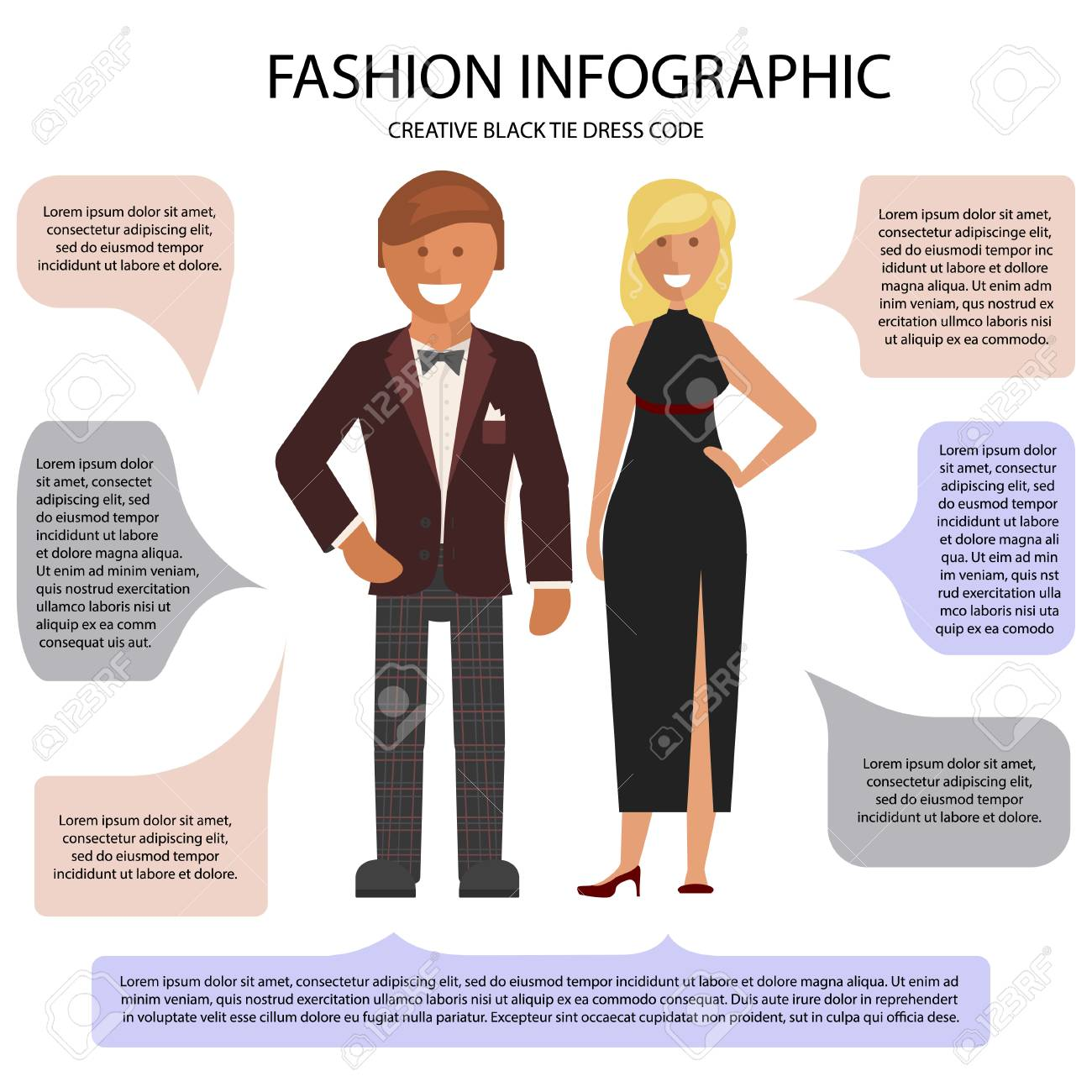 77dcf9ff000 Creative Black Tie dress code infographic. Man and woman isolated on white  background with speech