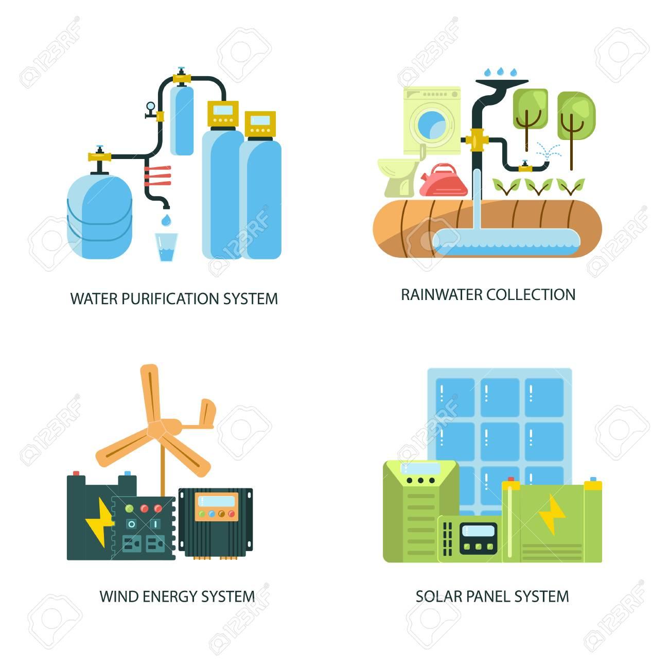 Modern eco technologies in the city  Solar energy eco home  Icons