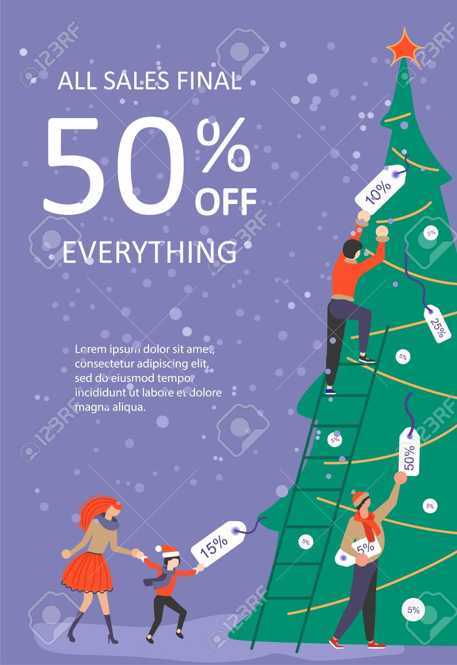 Vertical Banner For Christmas Sale People Running After Shopping Royalty Free Cliparts Vectors And Stock Illustration Image 109793678