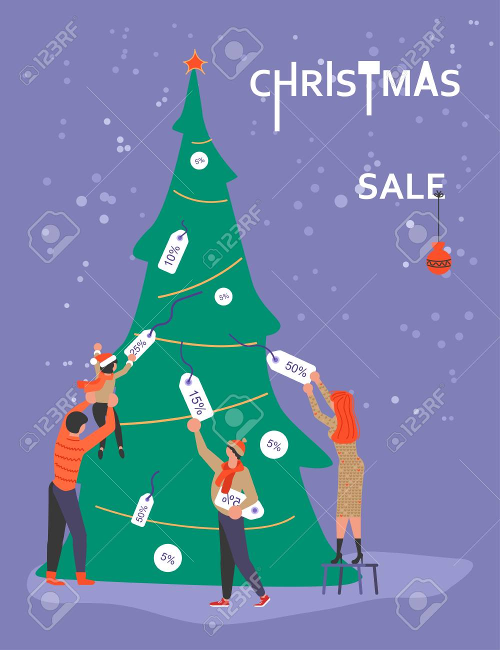 Vertical Banner For Christmas Sale. People Running After Shopping ...