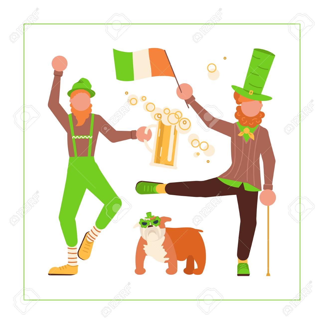 St Patricks Day banner. Cute cartoon leprechauns with mugs of..