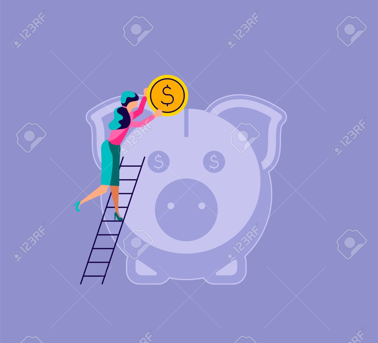 Woman puts a coin in the piggy bank. The metaphor of accumulating personal capital and saving money. Isolated on purple. Flat Art Vector Illustration - 142966453