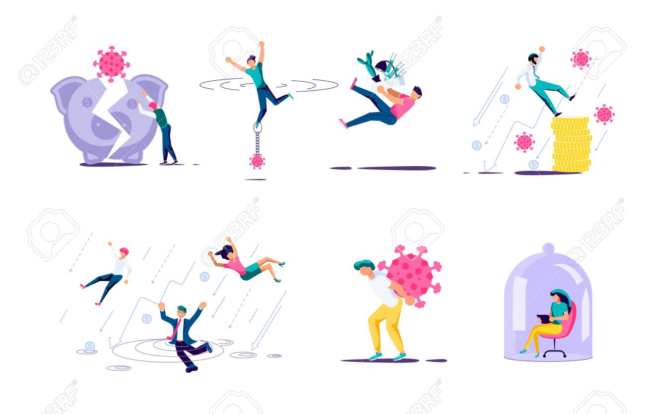 Set of people characters for survive business after COVID-19 outbreak infographic. Bankruptcy and investment failure and budget collapse. Economic crisis caused by coronavirus. Flat Art Vector Illustration - 146106110