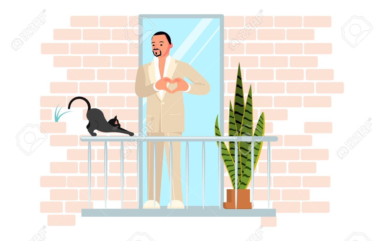 Young handsome man wearing a white suit sings on the balcony. Black cat stretches. Activity and hobbies during the coronavirus pandemic. Flat Art Vector Illustration - 146675704