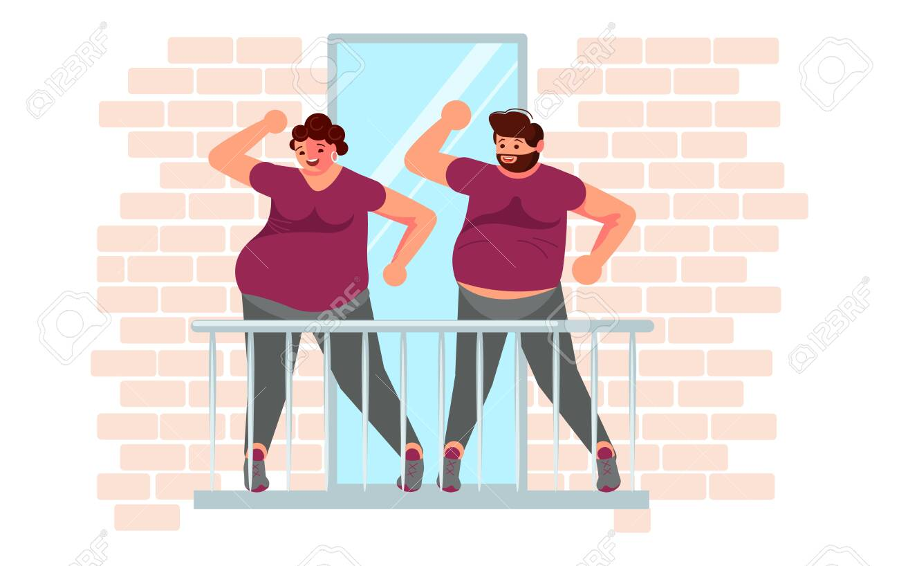 Married couple doing aerobics and exercises on the balcony. Activity and hobbies during the coronavirus pandemic. Flat Art Vector Illustration - 146675739
