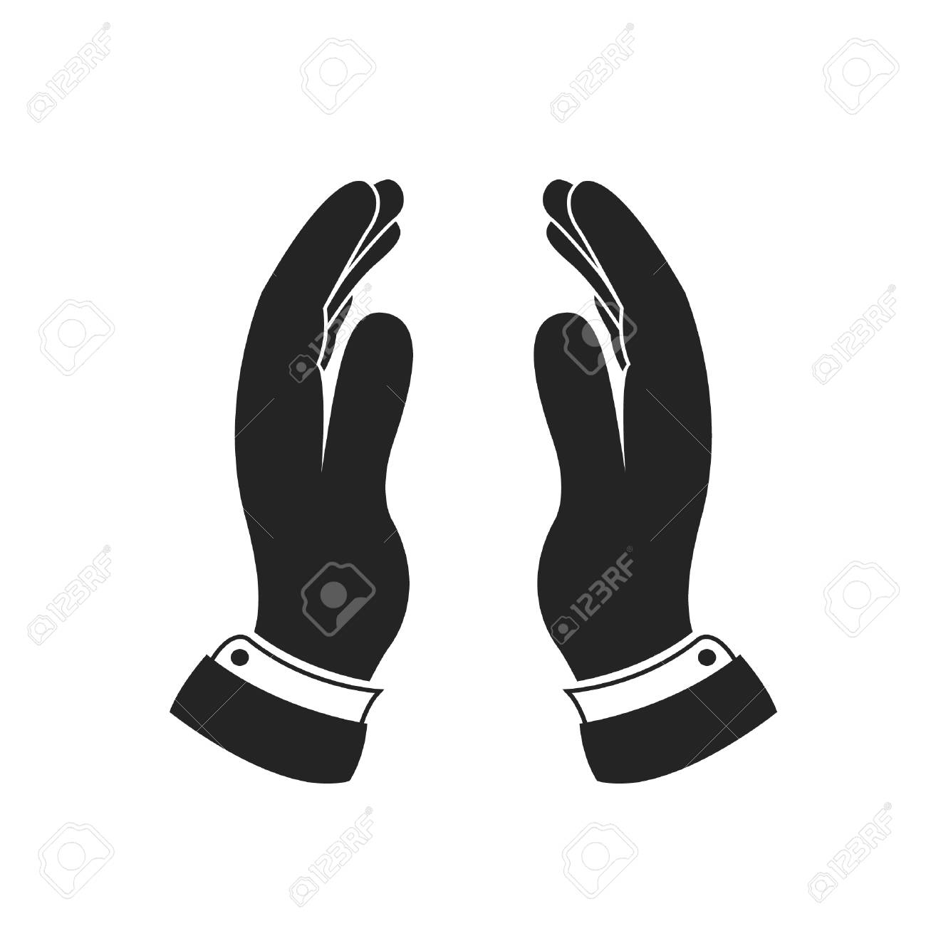 supporting hands icon vector protecting two hands icon royalty