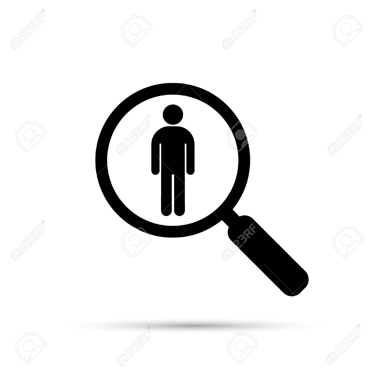 Search For Employees And Job, Business, Human Resource. Search Man Vector  Icon.
