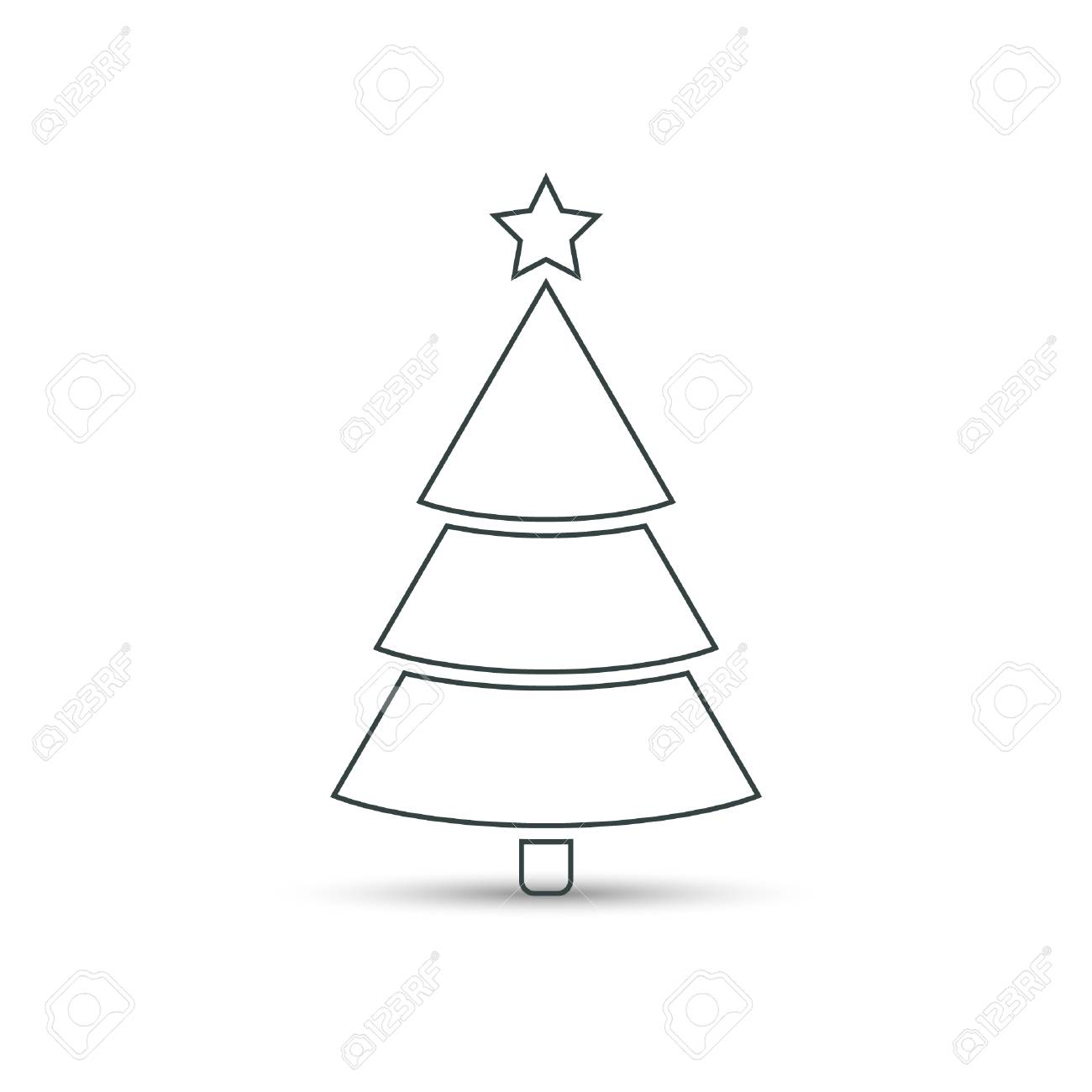 Christmas Tree Flat Outline Icon Vector Simple Design With Shadow