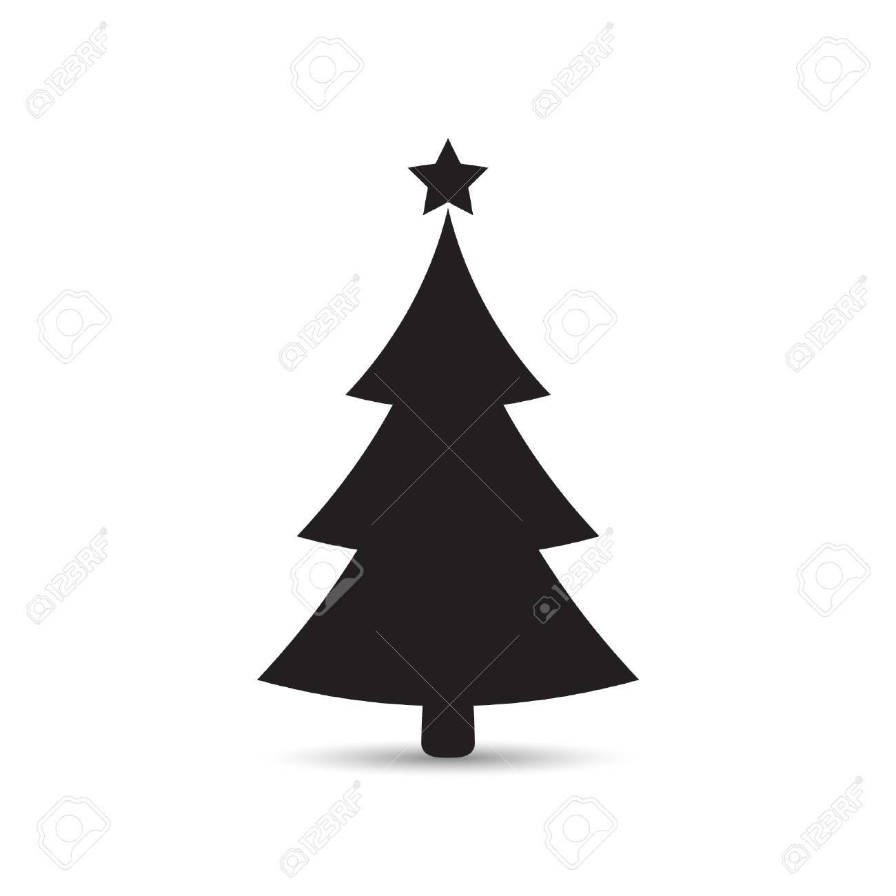 Christmas Tree Flat Icon Vector Simple Design With Shadow Black