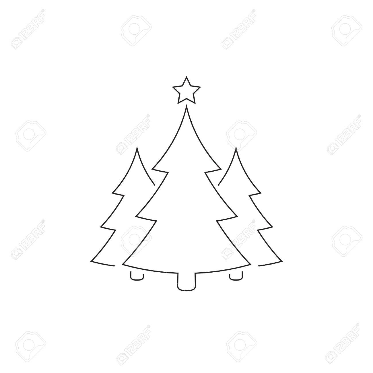 Arbres de Noël décrivent l\u0027icône, dessin simple de vecteur. Symbole noir de  sapin, isolé sur fond blanc.