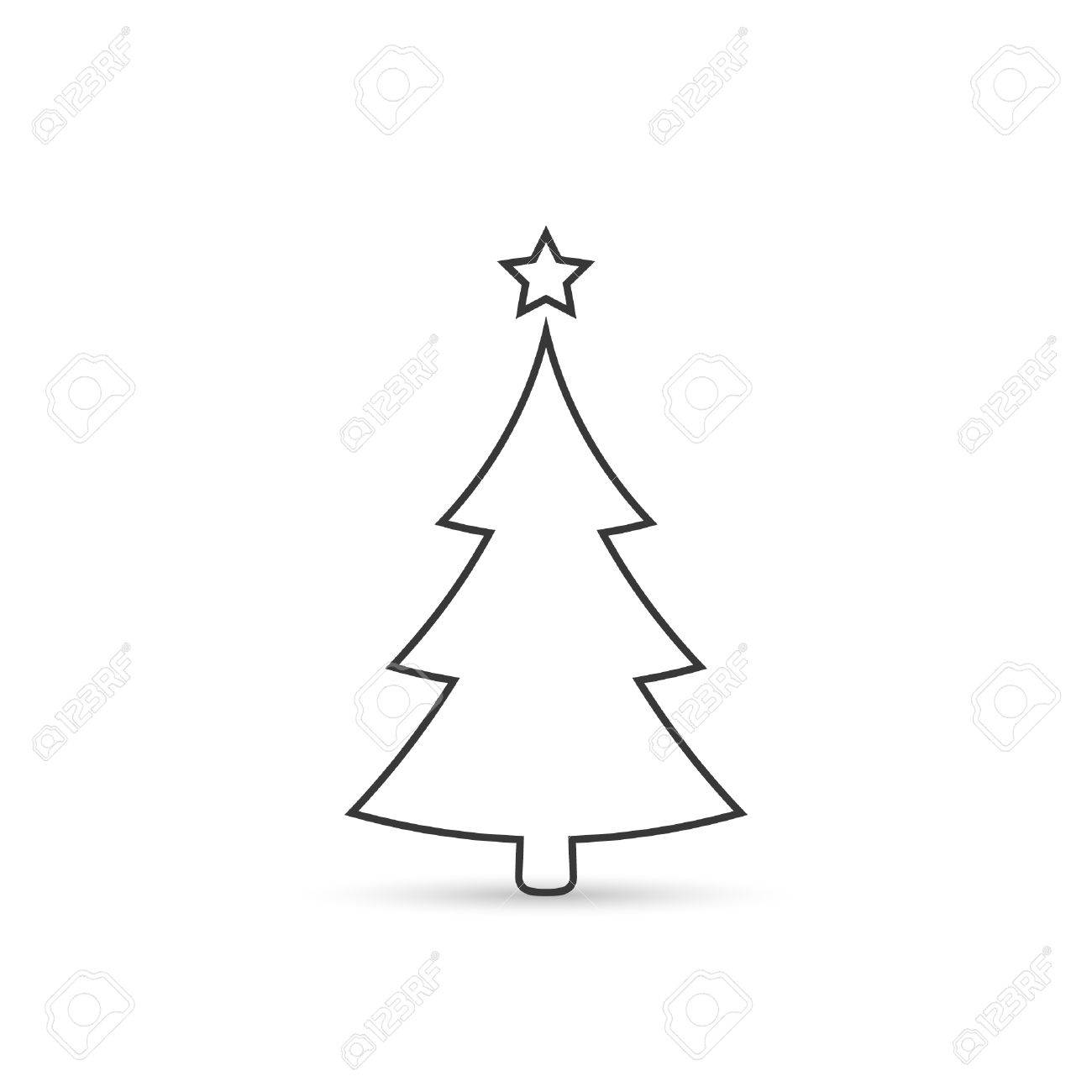 Christmas Tree Icon.Christmas Tree Outline Icon Vector Simple Design Black Symbol