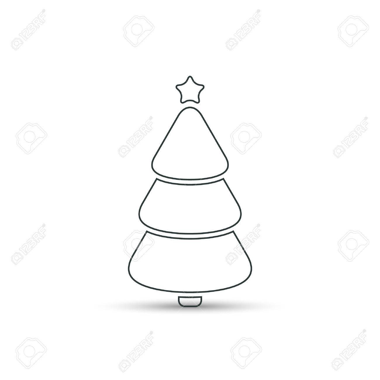 Christmas Tree Outline Icon Vector Simple Design Black Symbol