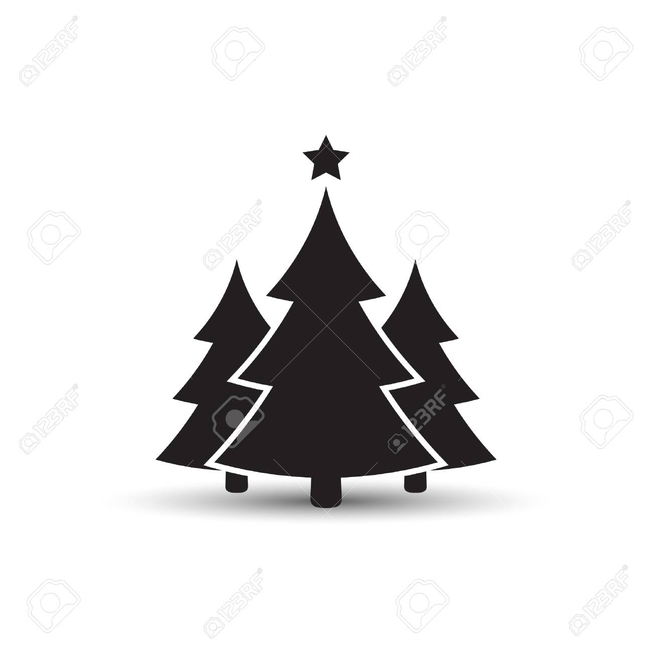 Christmas trees icon, vector simple design. Black symbol of fir,tree,..