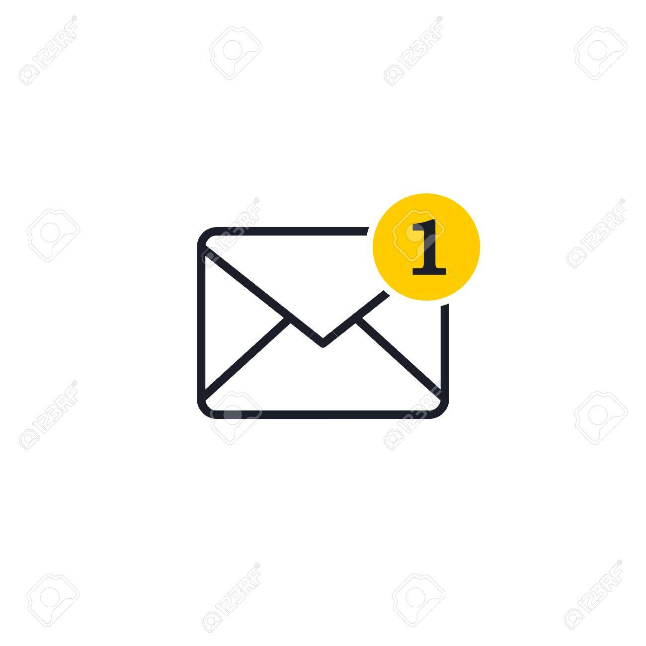 New incoming message envelope with one notification, vector object