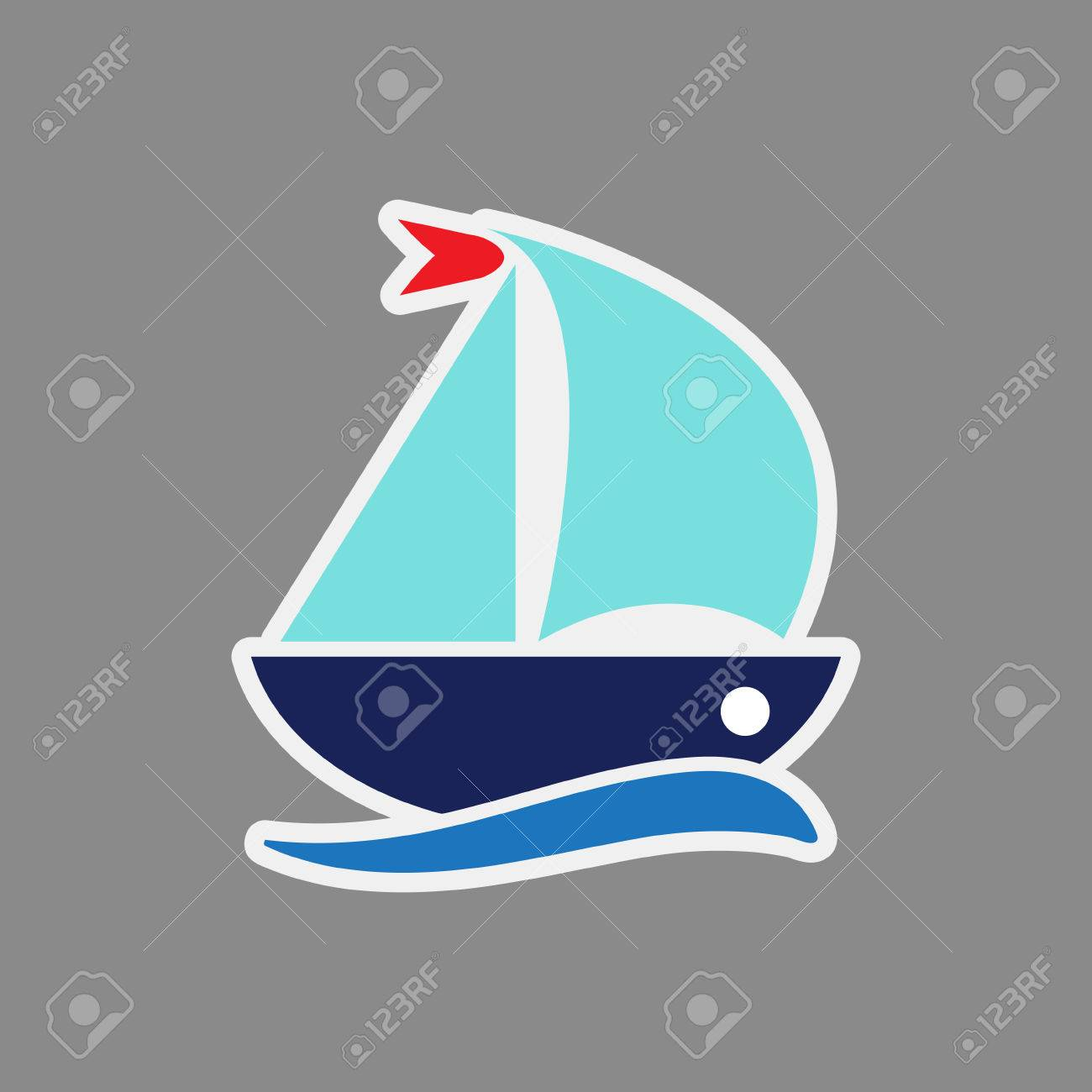 Autocollant D Icône De Navire Dessin Animé Ship Logo Illustration