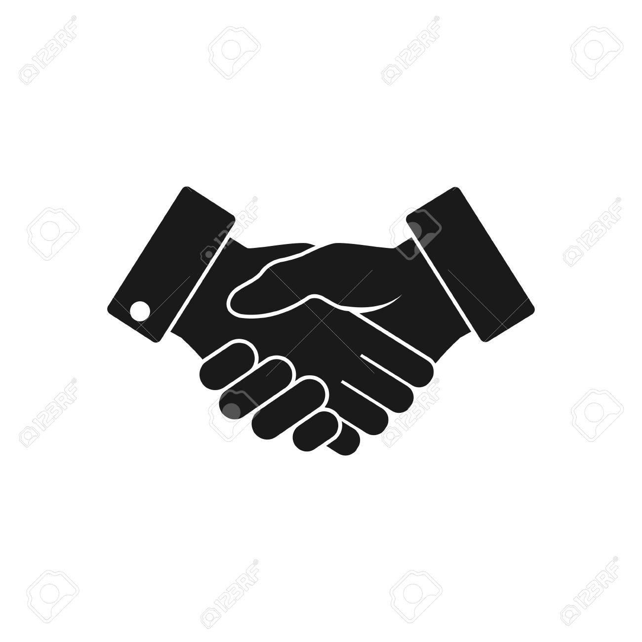handshake business icon contract agreement flat web icon vector