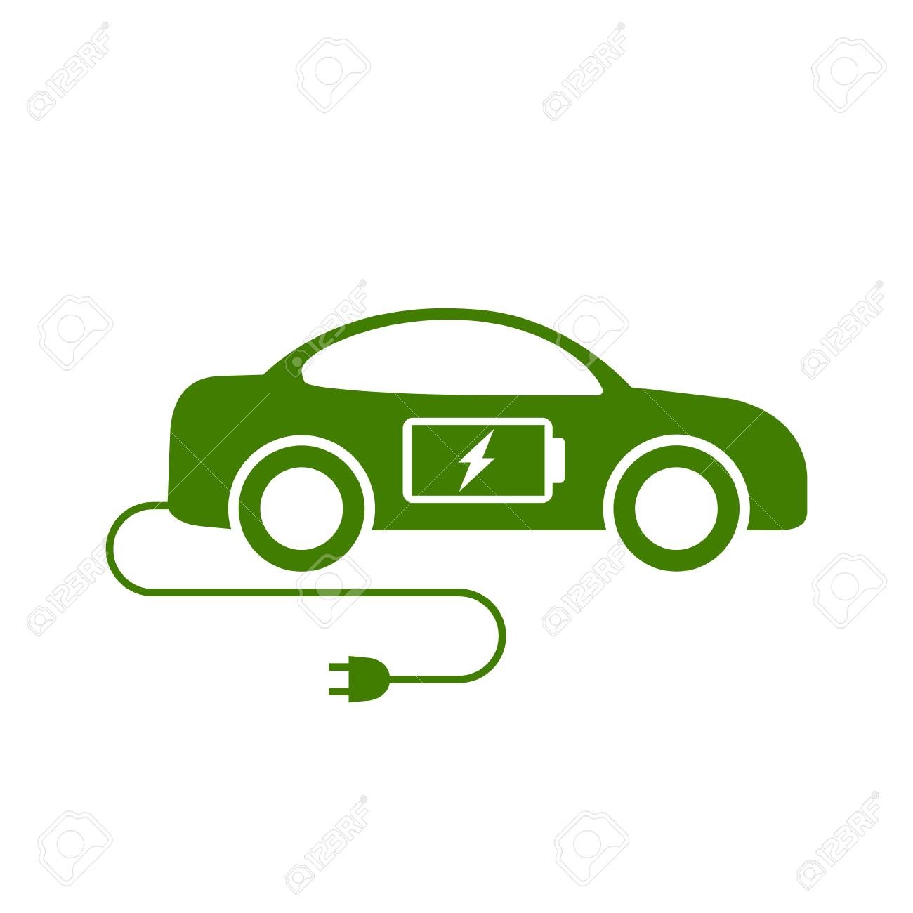 Electric Car Icon Vector Side View Eco Car Illustration Royalty
