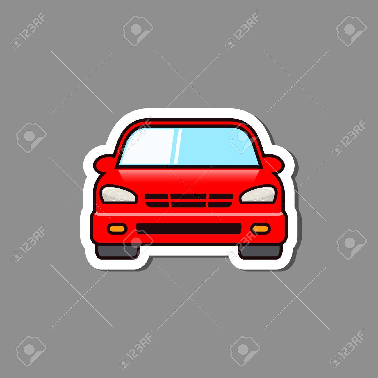 Car sticker front view vector isolated car paper emblem or badge stock vector