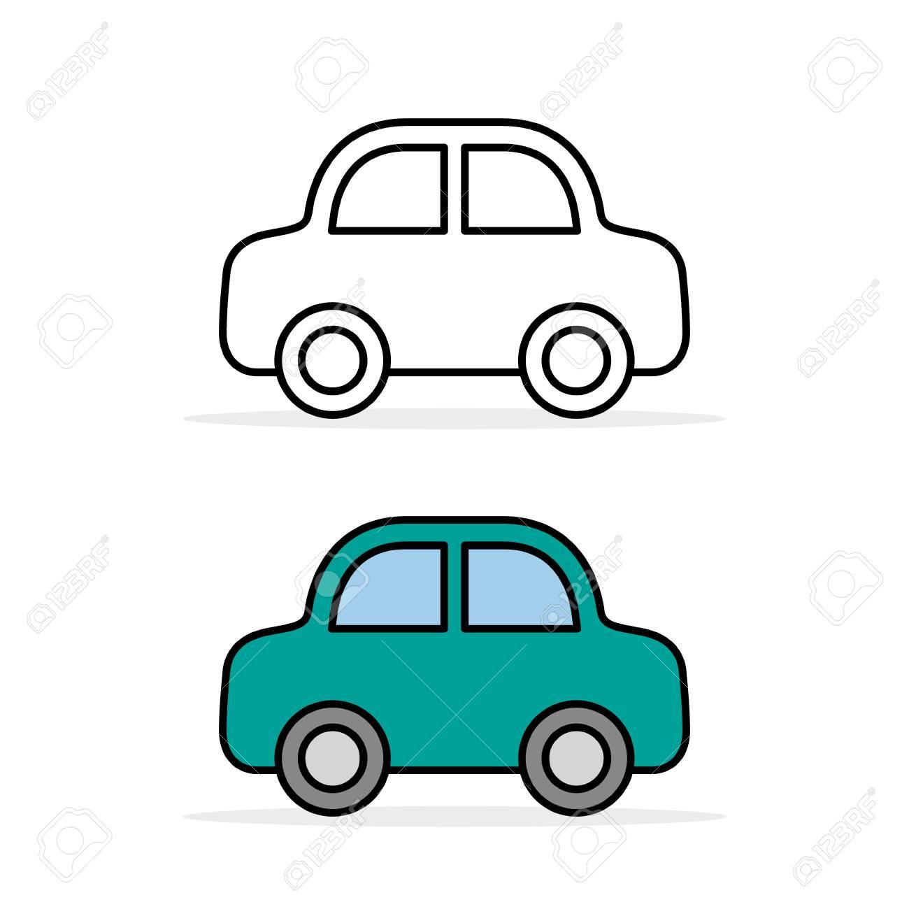 car icon set outline and color vector line flat simple cartoon rh 123rf com car outline clip art vector