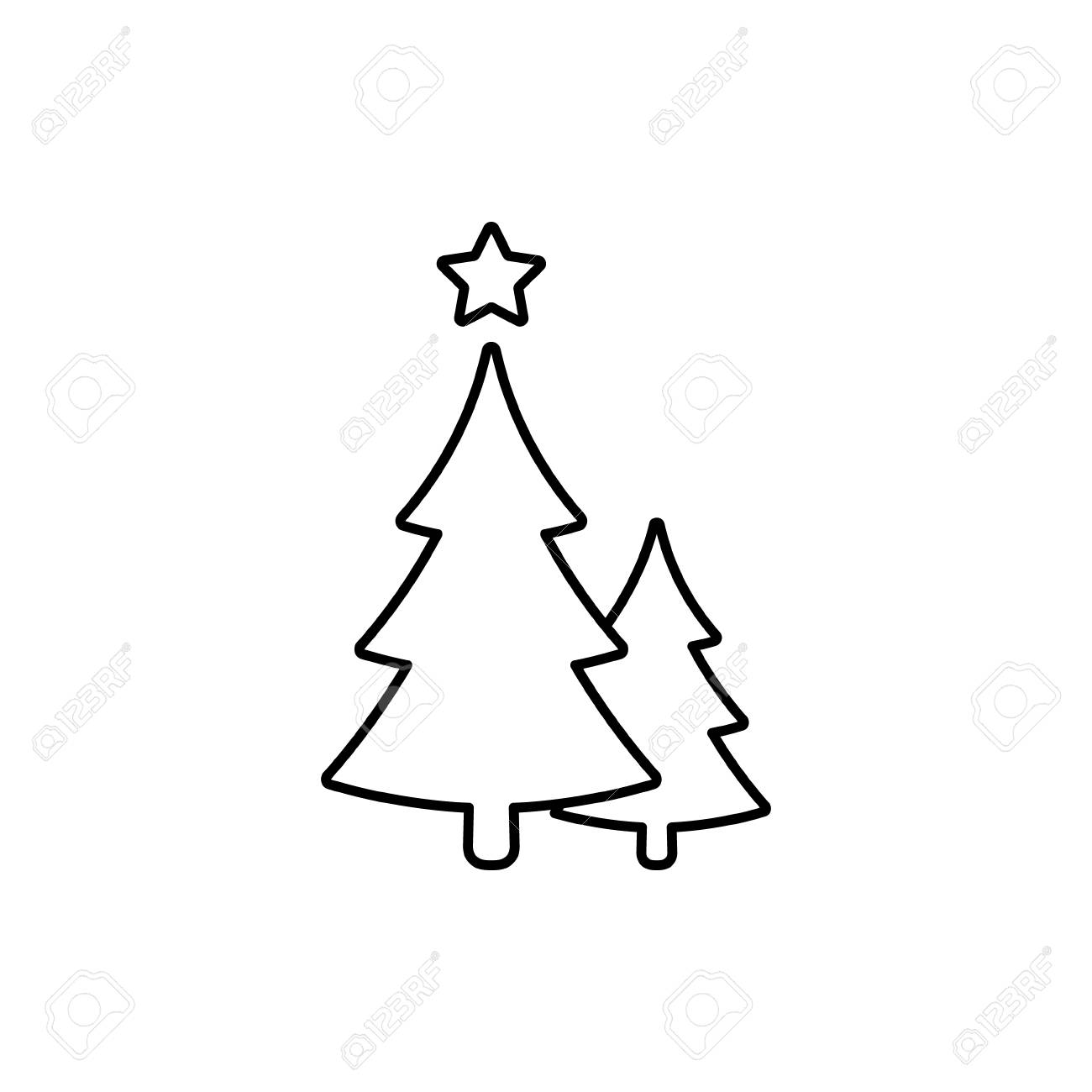 Christmas Trees Line Icon Vector Black Outline Symbol Of Two