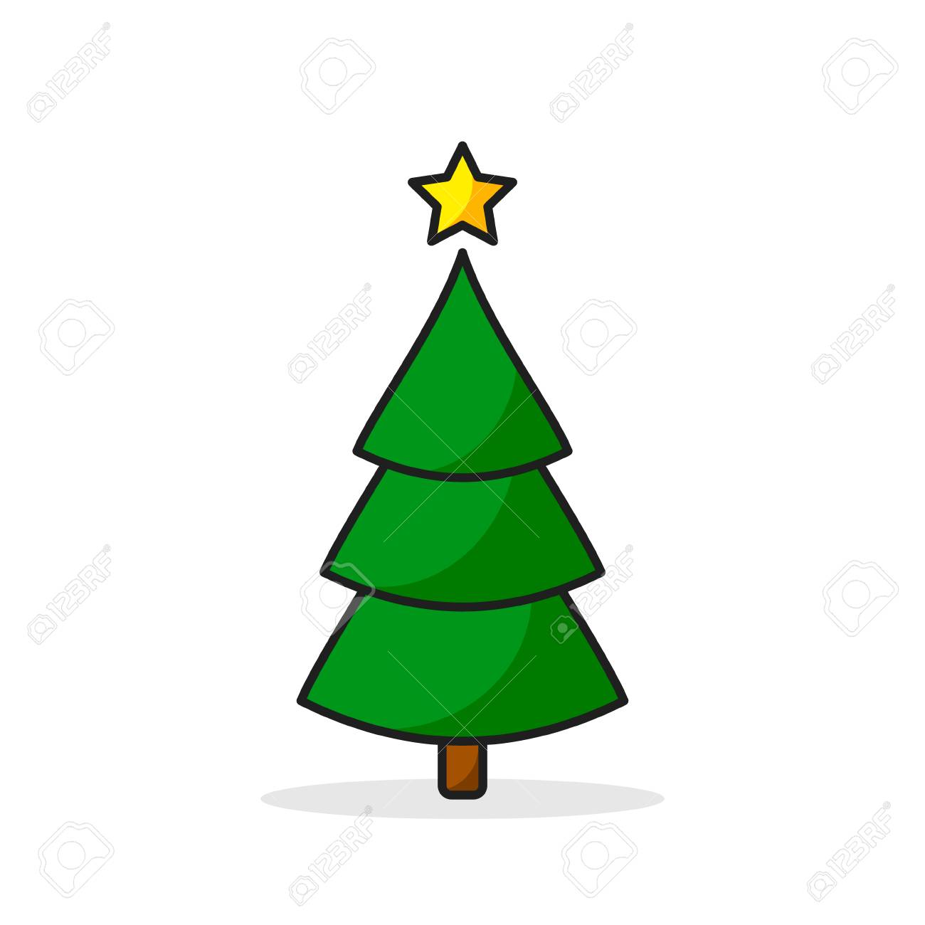 Christmas Tree Color Icon. Vector Illustration On White Background ...