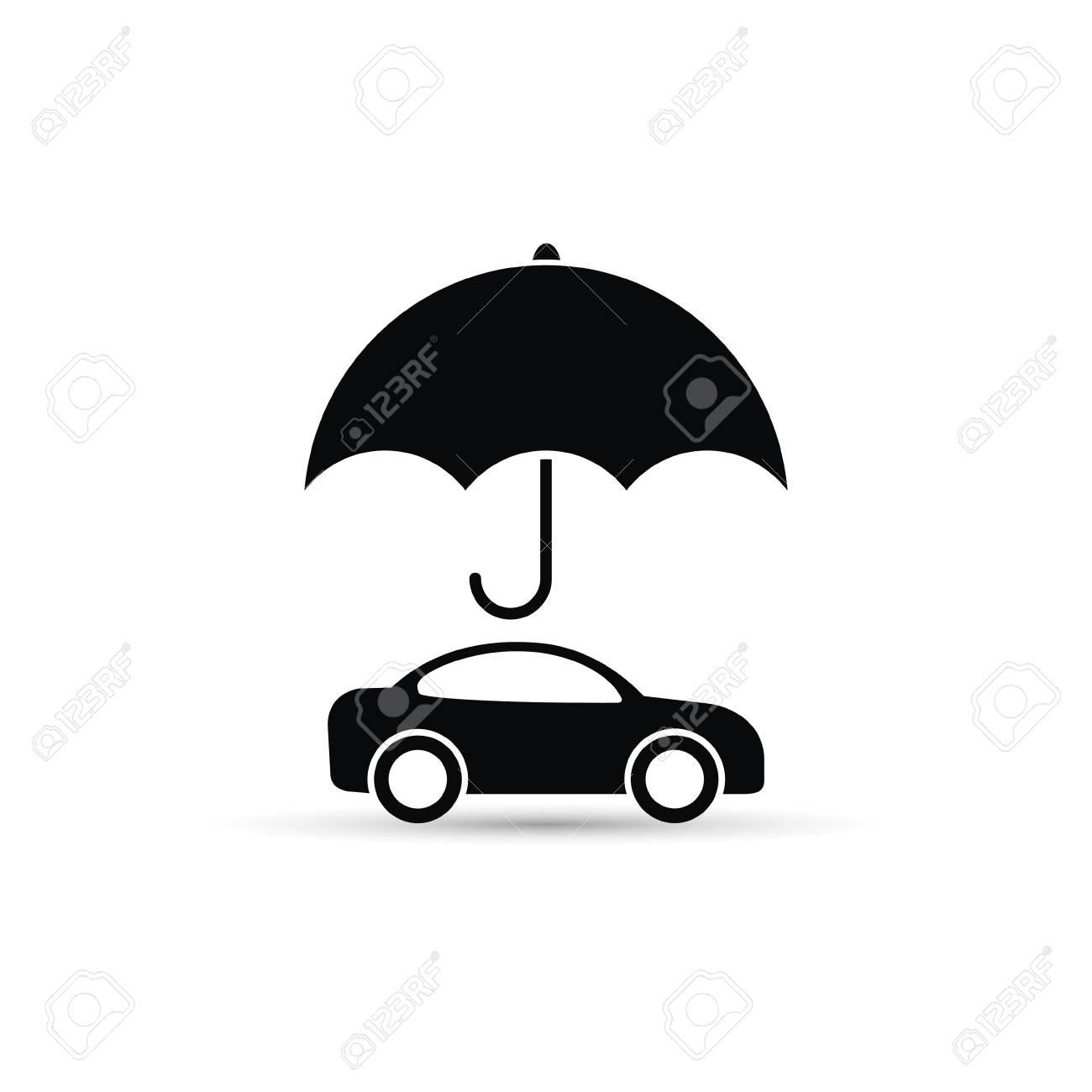 Umbrella Above Car Icon Vector Car Protect Illustration