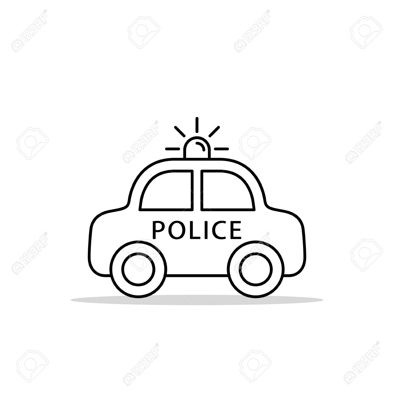 Police car line icon vector iolated flat design outline illustration