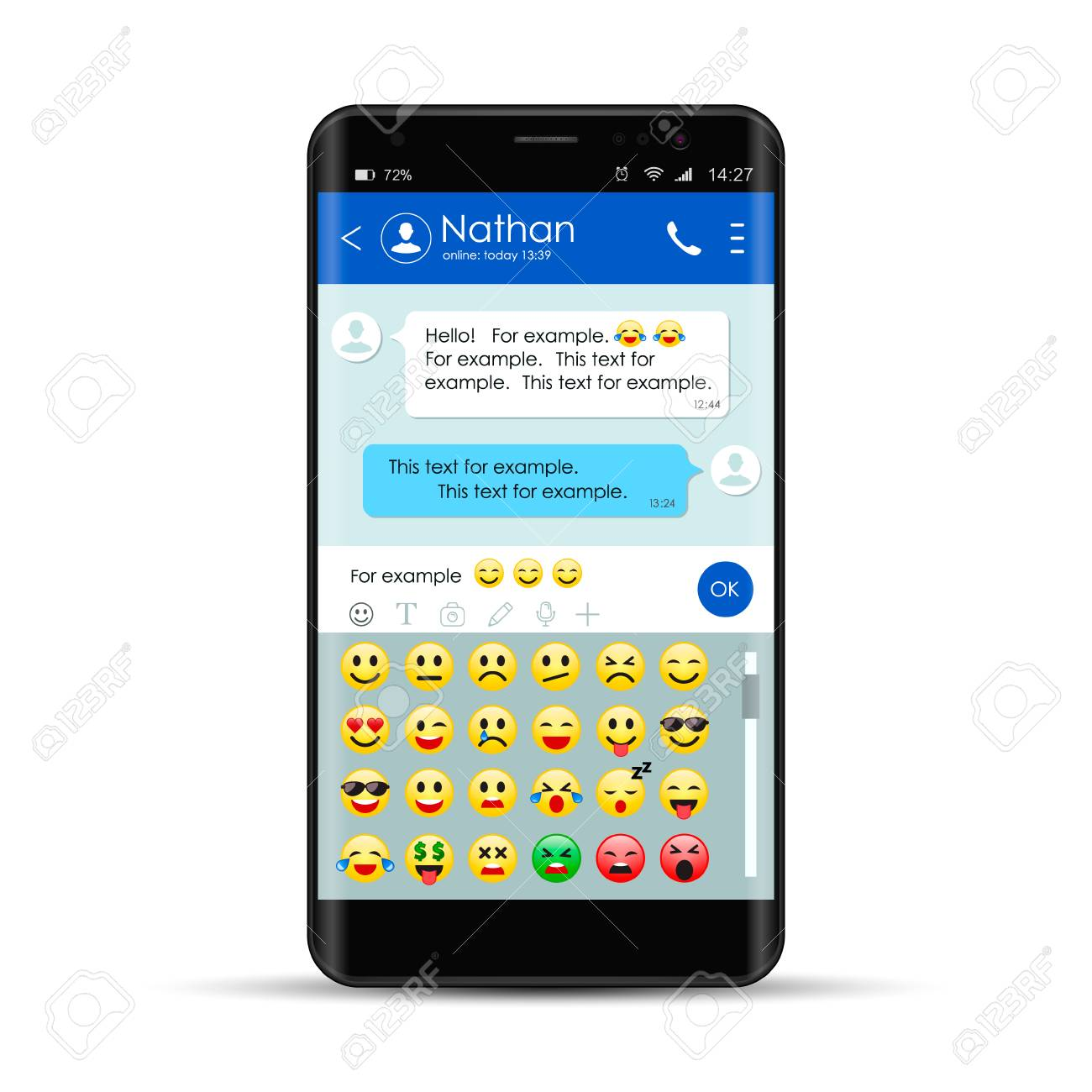 Realistic smartphone With messenger chat app template with mobile