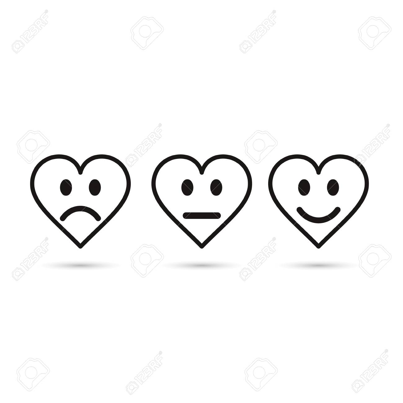Heart Emoticon Evaluation Line Icon Feedback Symbol Heart With
