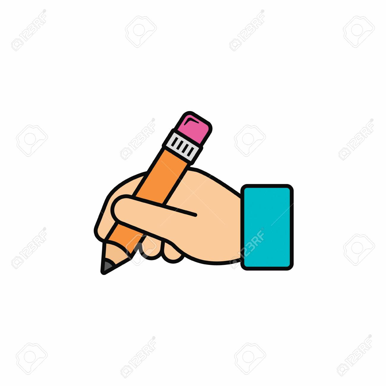 Hand hold pencil icon. Hand writing icon. Vector color illustration. - 97483203