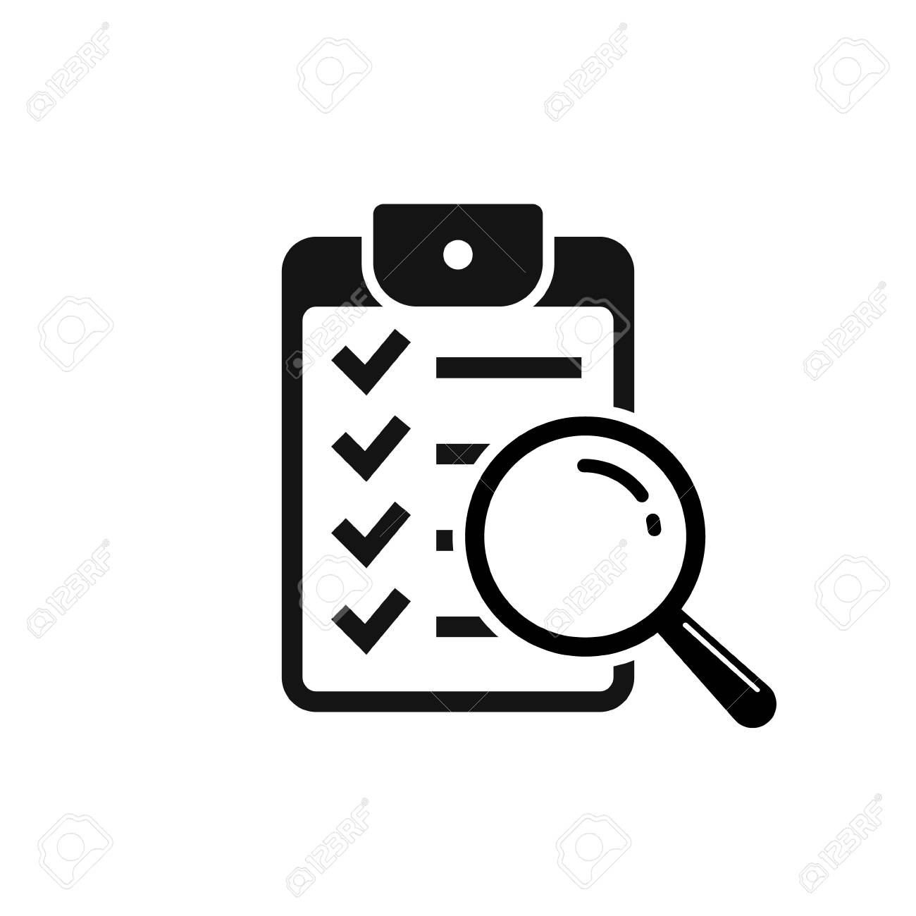 Magnifier assessment checklist icon. Vector flat style symbol. - 97600741