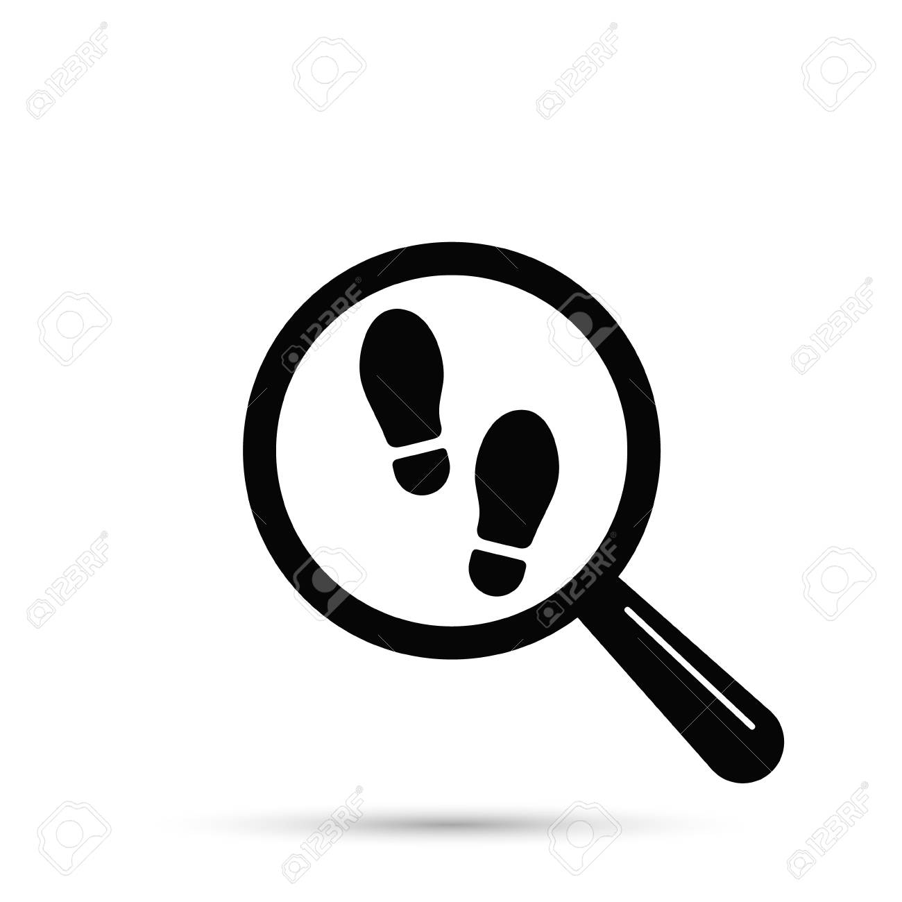 Footprint searching icon, vector isolated flat illustration with magnifier and shoe print. - 97601550