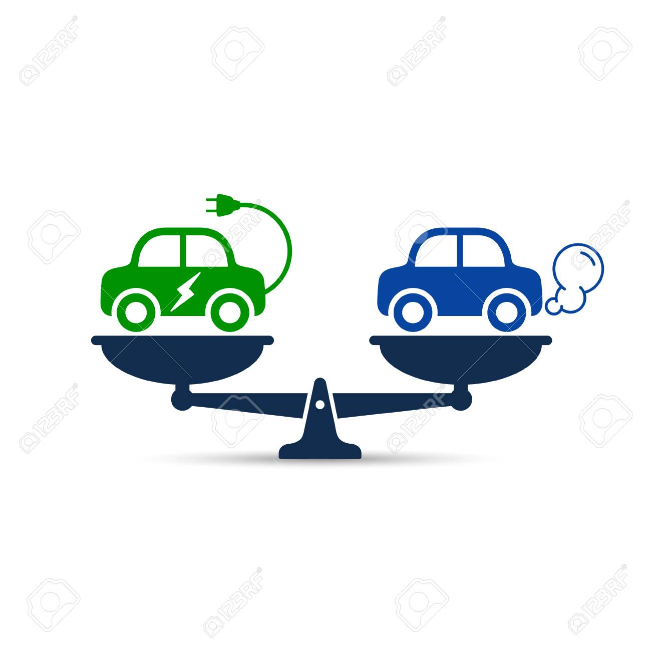 Electric Car Versus Gasoline And Diesel Car On Scales Icon Comparison Royalty Free Cliparts Vectors And Stock Illustration Image 100989177