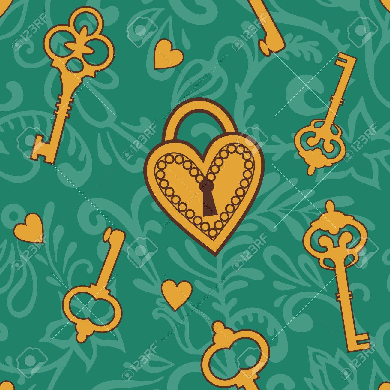 pattern with keys  and  heart lock Stock Vector - 14739089