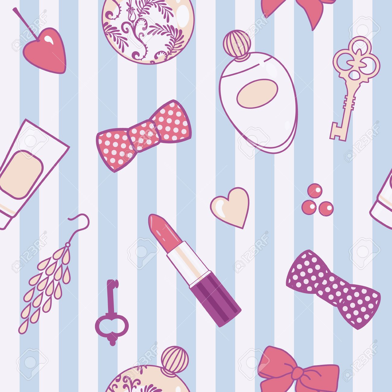 vector seamless pattern with retro female things Stock Vector - 15063266