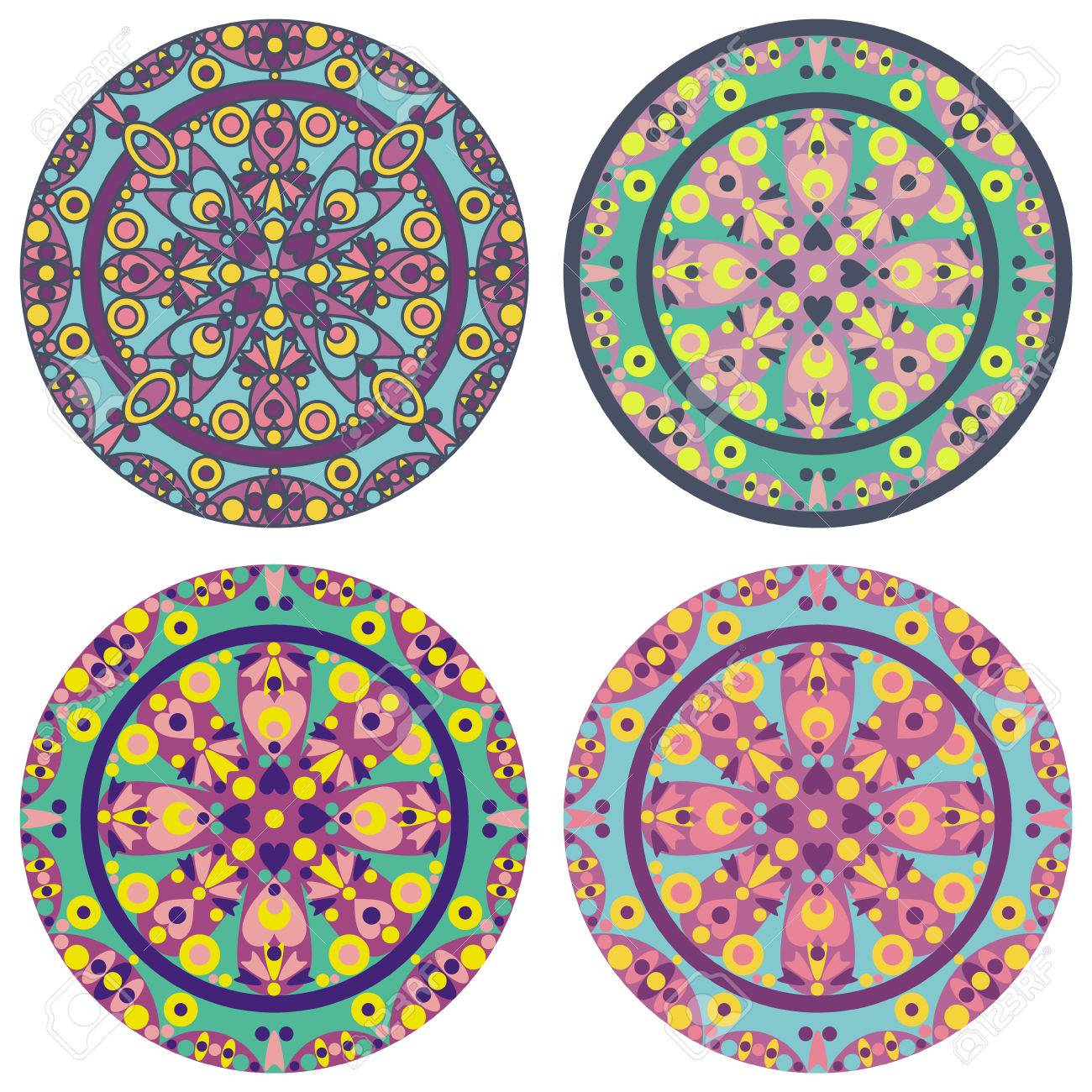 vector set of 4 color mandala Stock Vector - 26795581
