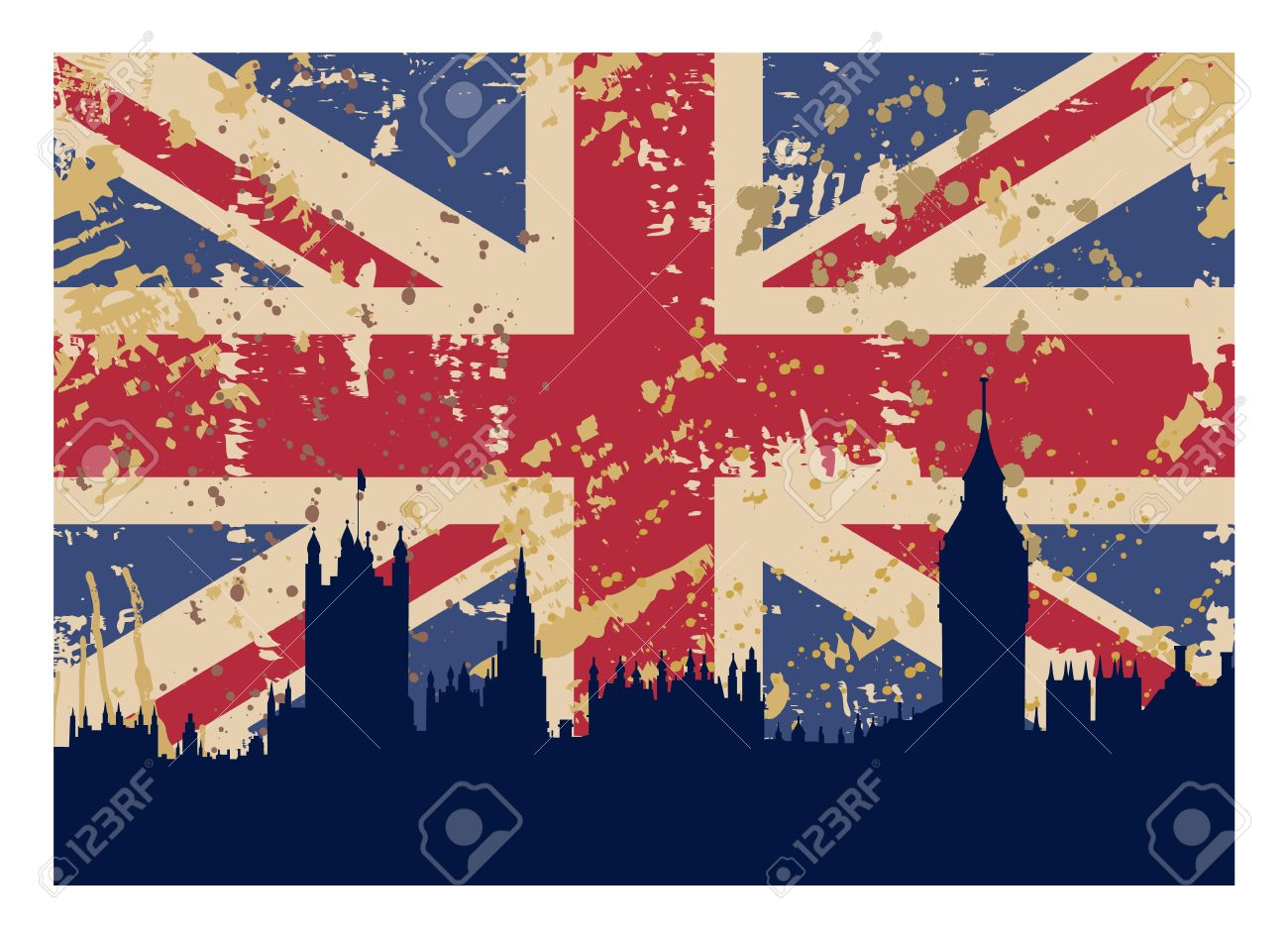 vector illustration of great britain s flag and london silhouette