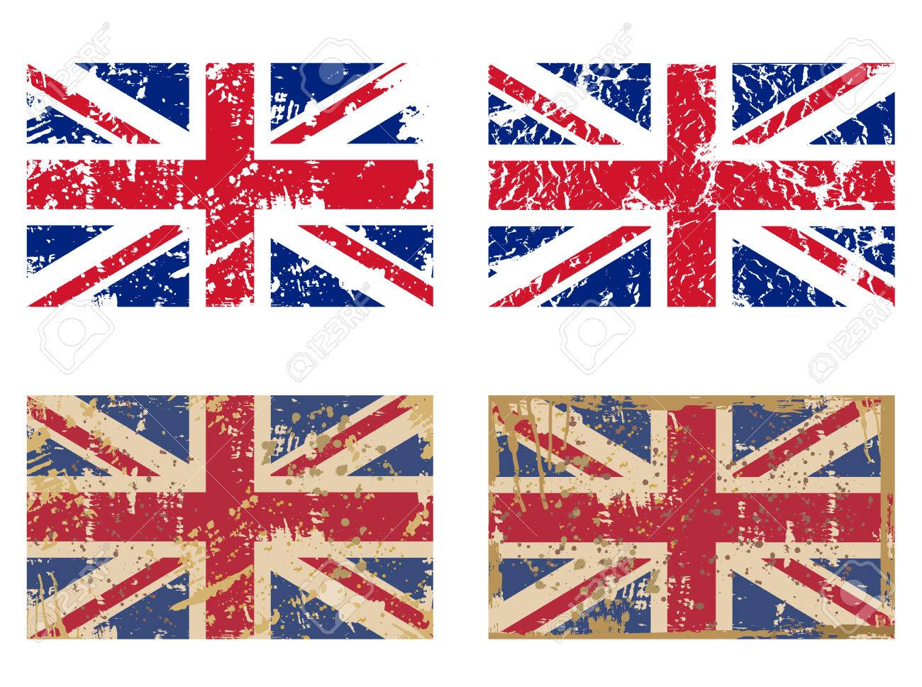 vector set of great britain s flag in grunge style royalty free