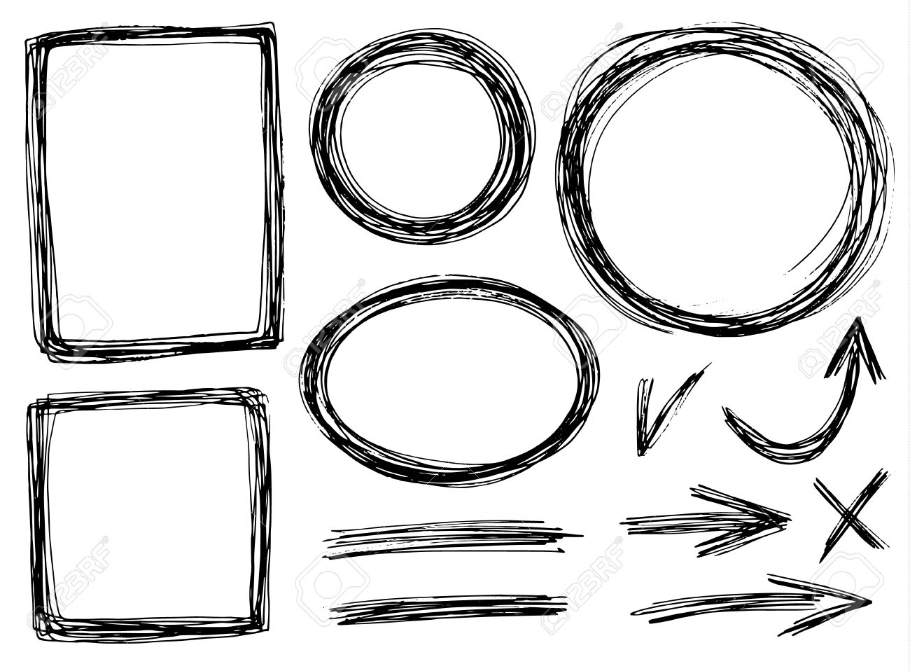 Vector Hand Draw Frames With Pencil Texture Royalty Free Cliparts