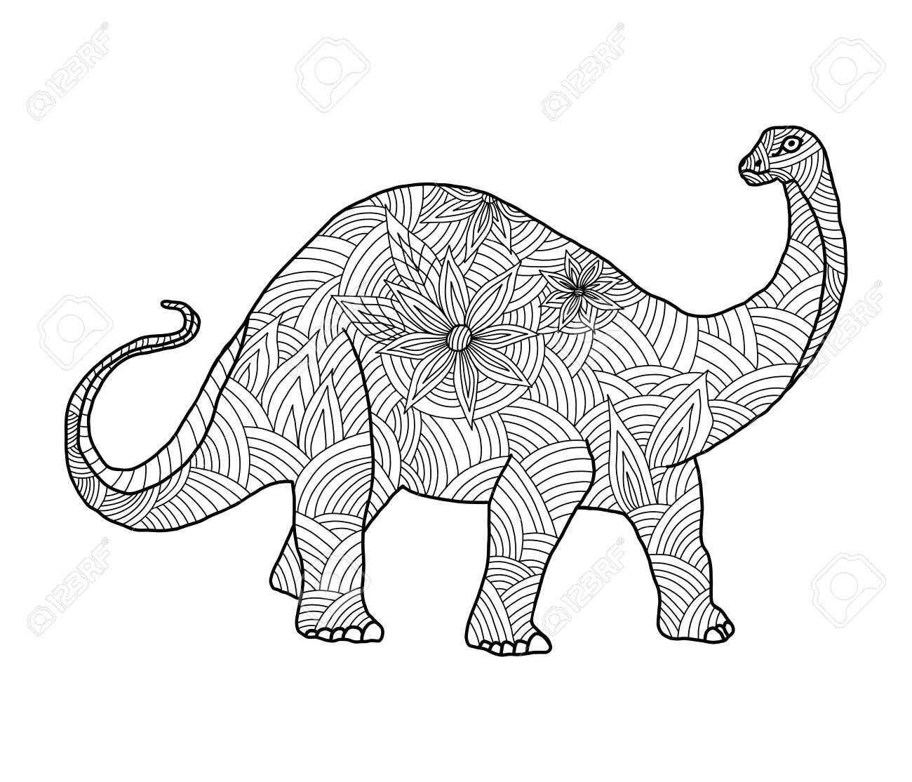 Dinosaur. Coloring page for child and adults Vector. Cartoon ... | 1114x1300