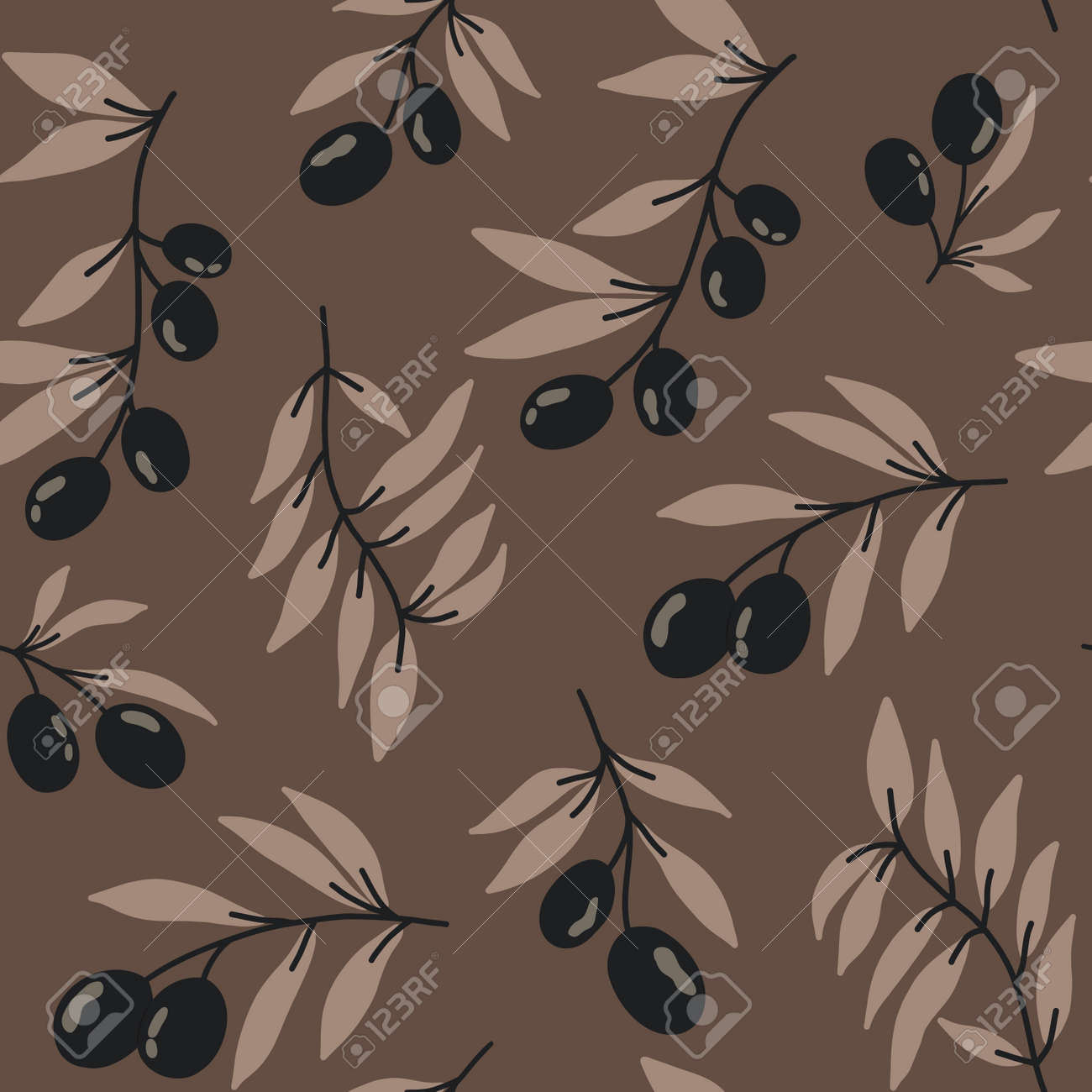 Vector seamless pattern with black olives on a brown background. Stock illustration. Prints on fabric, printed matter and wrapping paper. For greeting cards. - 164801853