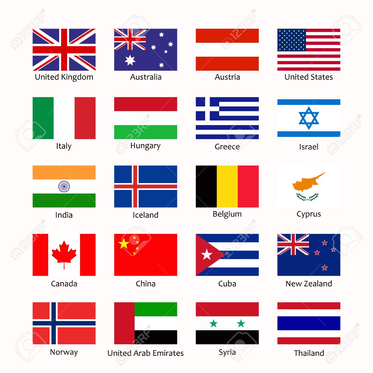 simple flags of the countries flags icons in flat style with