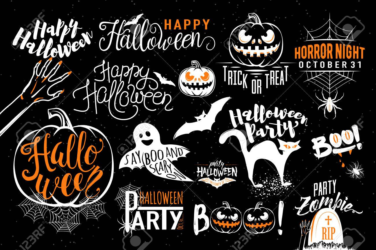 Happy Halloween Celebration Icon Label Templates With Scary Symbols ...