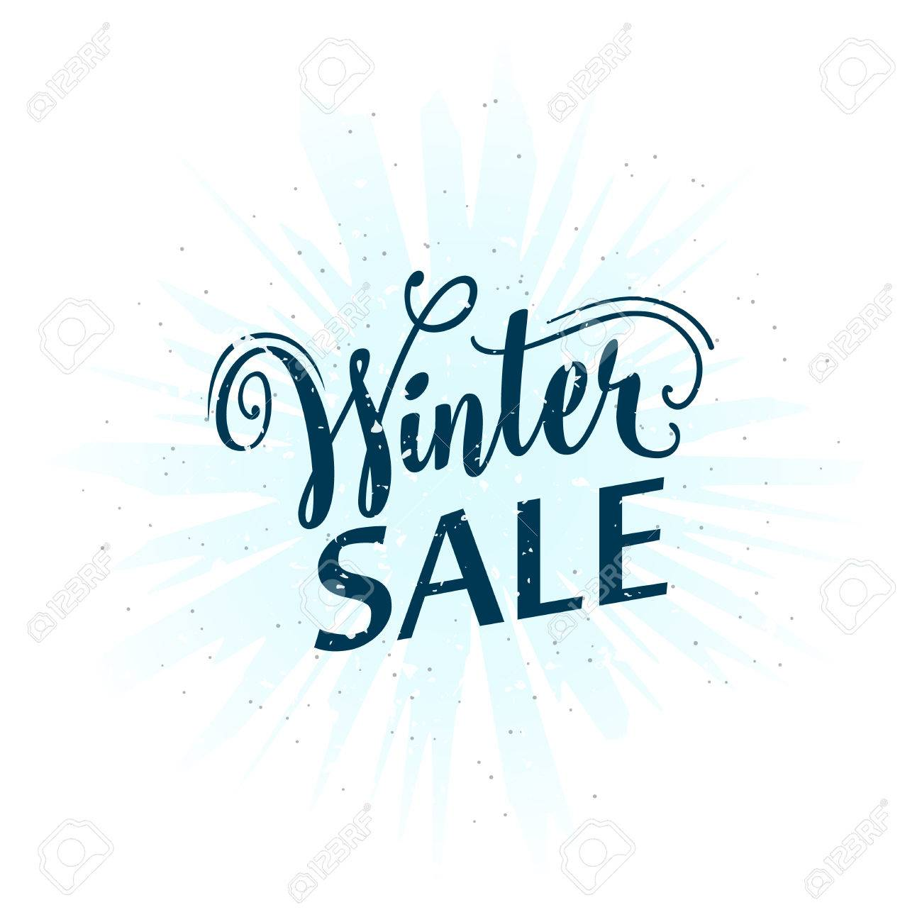Vector Illustration Of Calligraphy Inscription Winter Sale Seasonal